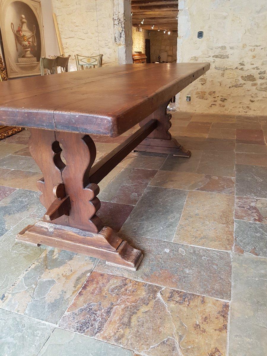 Table De Monastère En Chêne, Fin XIXème. (220cm X 80cm)-photo-6