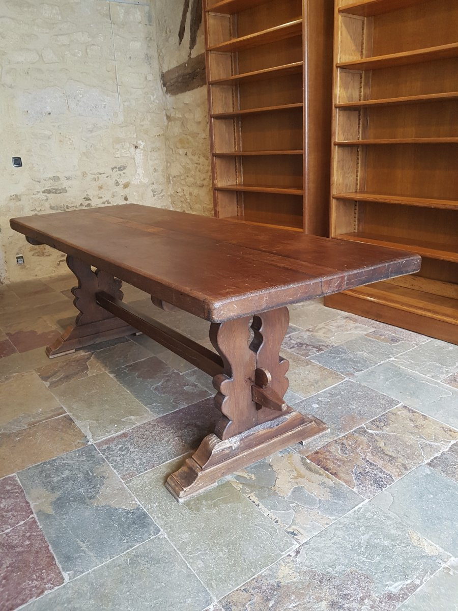 Table Monastery In Oak, Late Nineteenth. (220cm X 80cm)