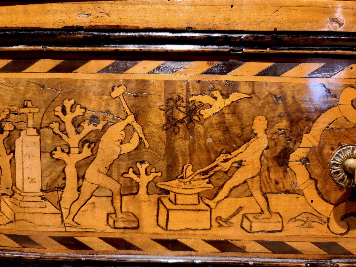 Commode Italienne 12 Tiroirs, Marqueterie, Fin XVIIème Siècle (156cm X 108cm)-photo-2