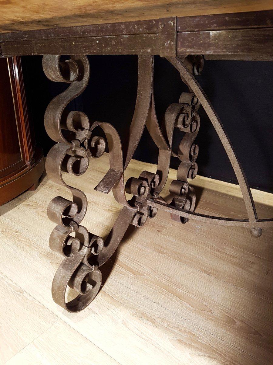 Table En Chêne Et En Fer Forgé (225cm/270cm X 97cm).-photo-2