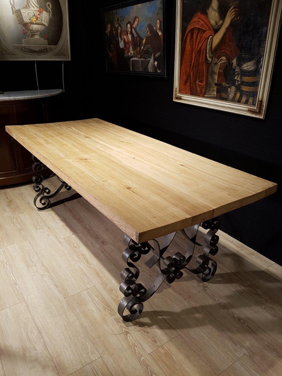 Table En Chêne Et En Fer Forgé (225cm/270cm X 97cm).-photo-5