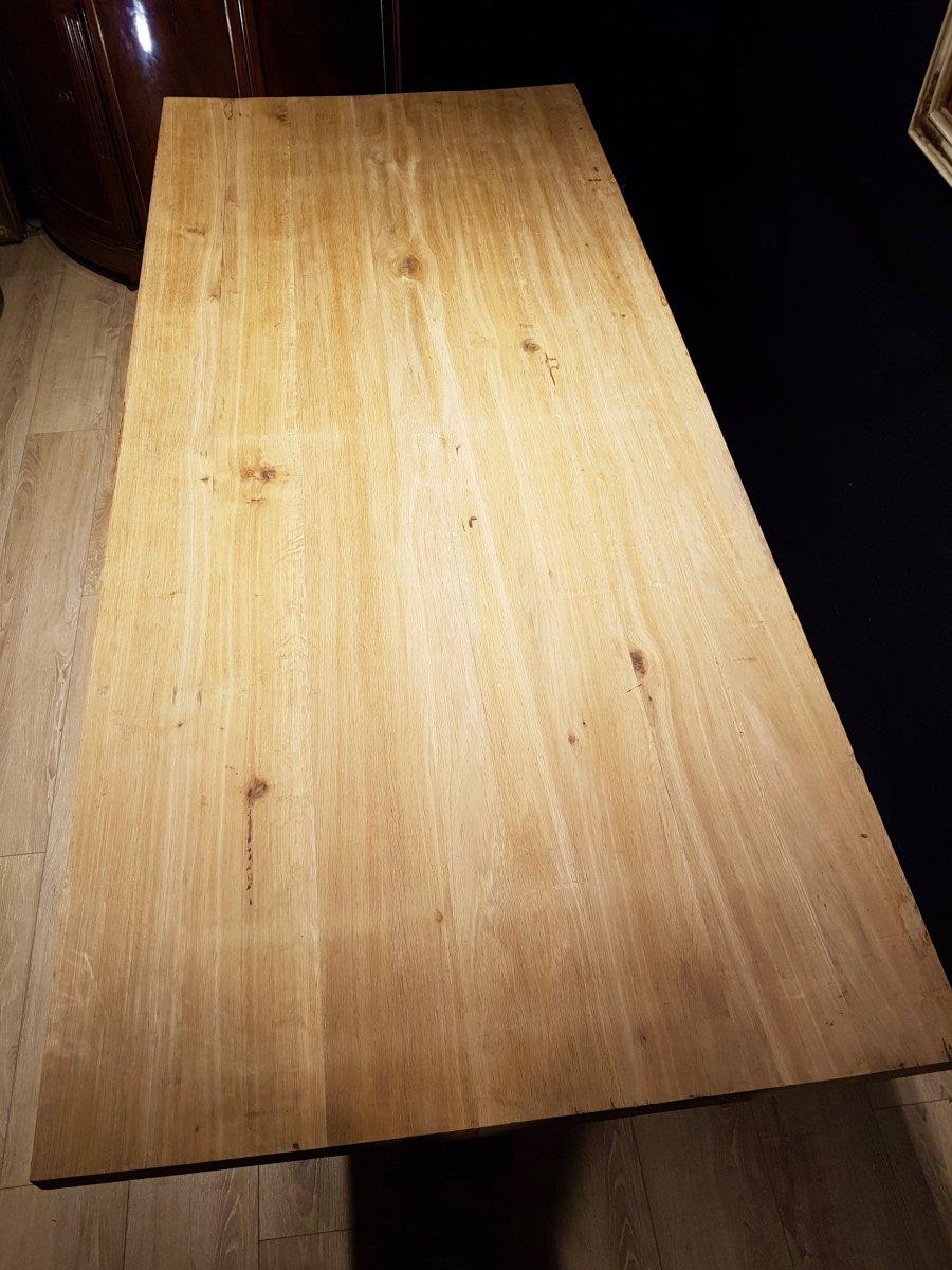 Table En Chêne Et En Fer Forgé (225cm/270cm X 97cm).-photo-6
