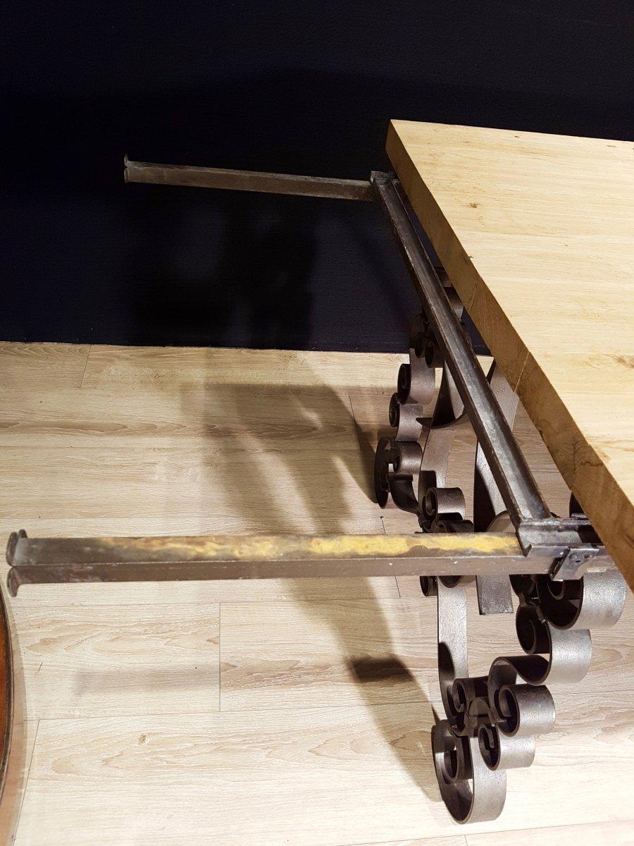 Table En Chêne Et En Fer Forgé (225cm/270cm X 97cm).-photo-8