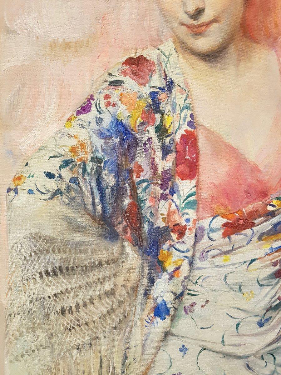 Herman Richir, Portrait De Régine d'Oultremont, Daté 1928. (156cm X 121cm)