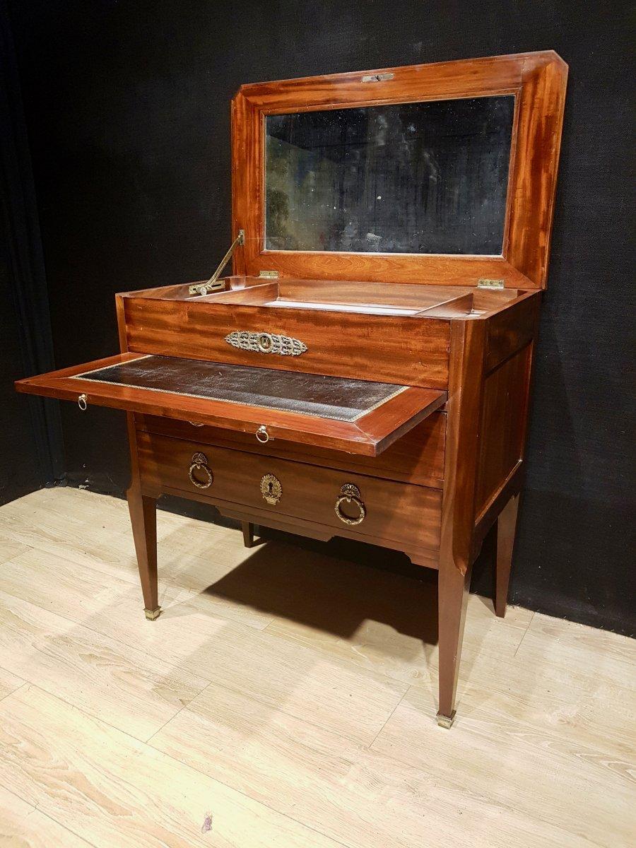 Mahogany And Marble Office Dresser, Nineteenth.-photo-2