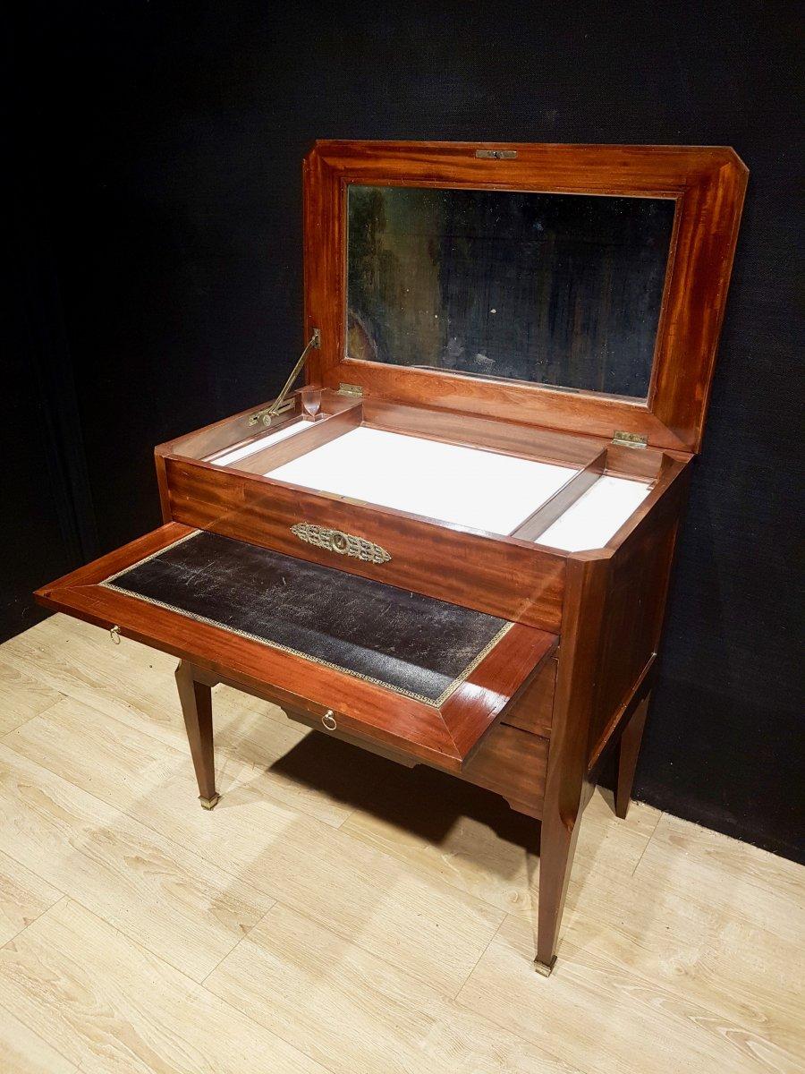 Mahogany And Marble Office Dresser, Nineteenth.-photo-3