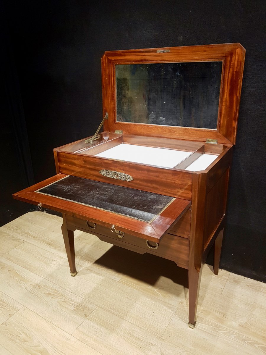 Mahogany And Marble Office Dresser, Nineteenth.