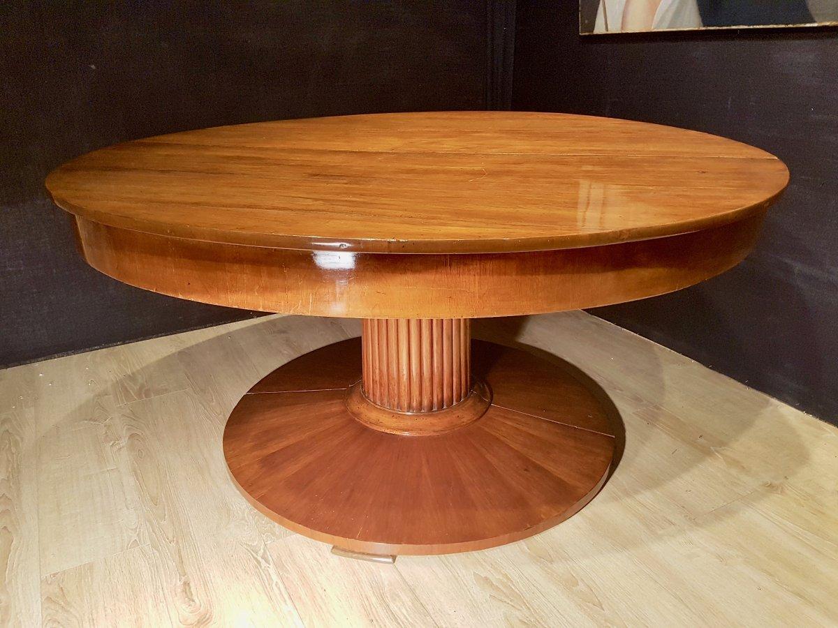 Paire De Consoles, Table,  En Noyer, Début XIXe (diamètre 156cm)-photo-1