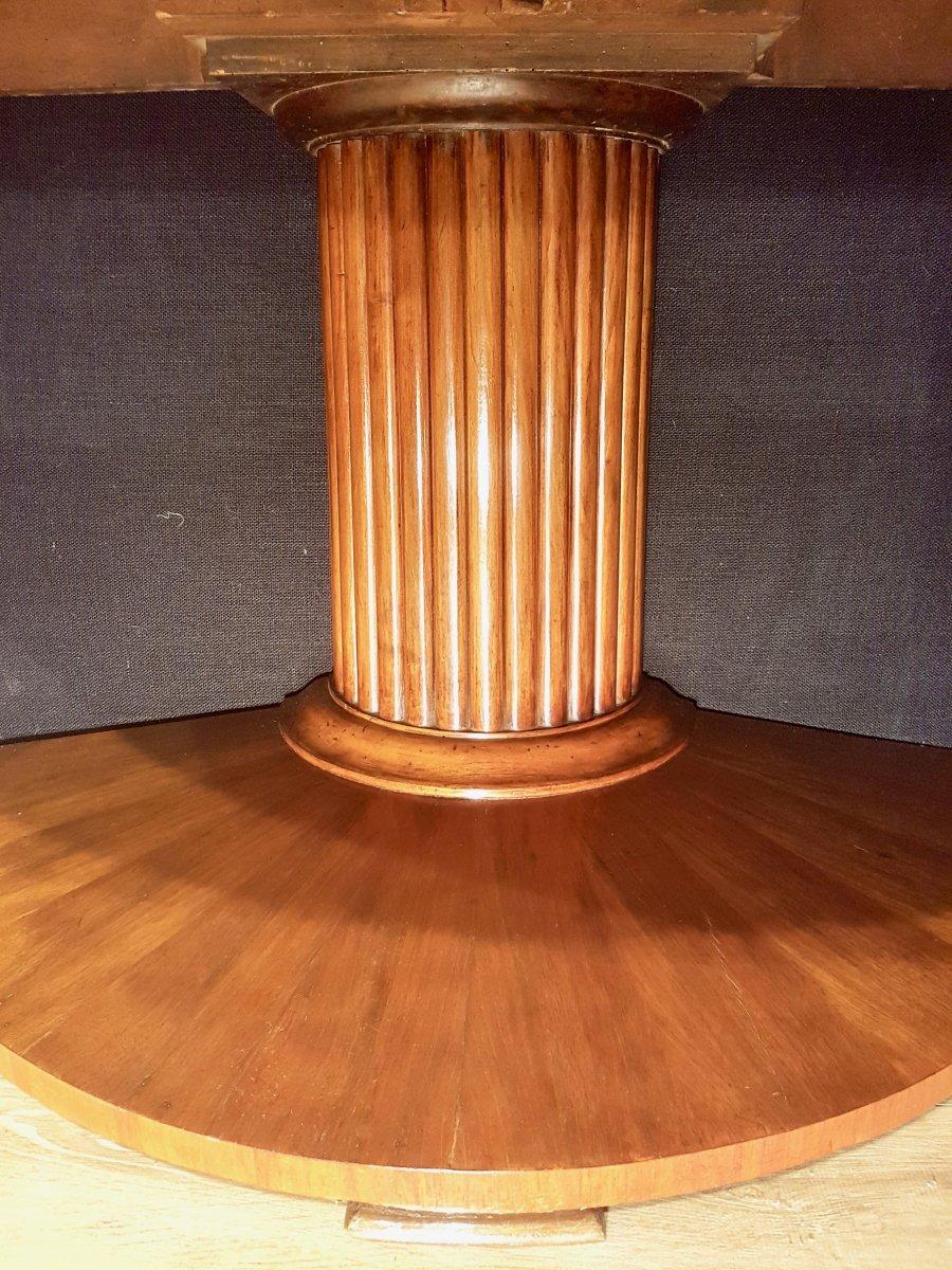 Paire De Consoles, Table,  En Noyer, Début XIXe (diamètre 156cm)-photo-2