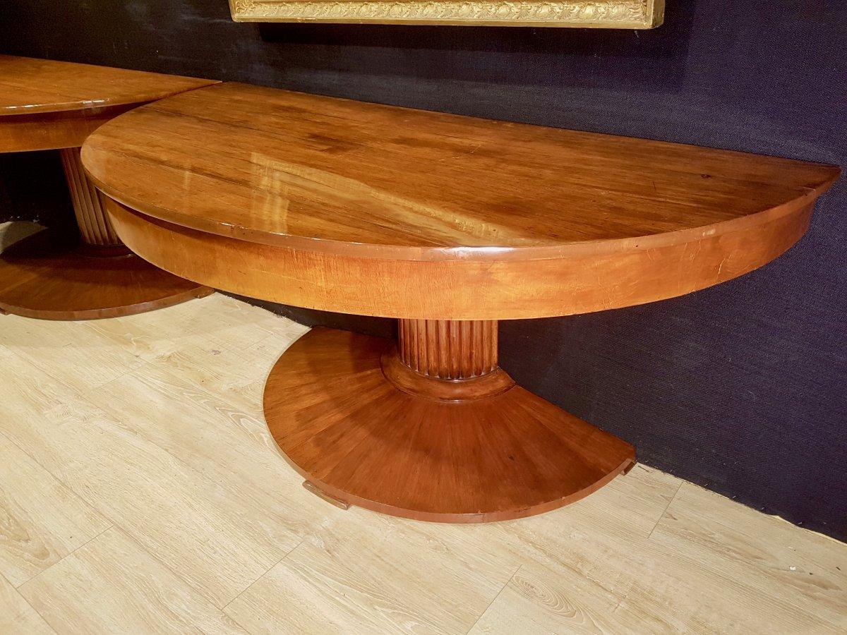 Paire De Consoles, Table,  En Noyer, Début XIXe (diamètre 156cm)-photo-3