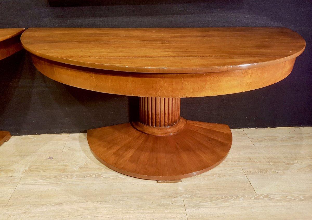 Paire De Consoles, Table,  En Noyer, Début XIXe (diamètre 156cm)-photo-4