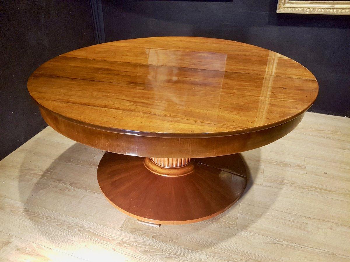 Paire De Consoles, Table,  En Noyer, Début XIXe (diamètre 156cm)-photo-5
