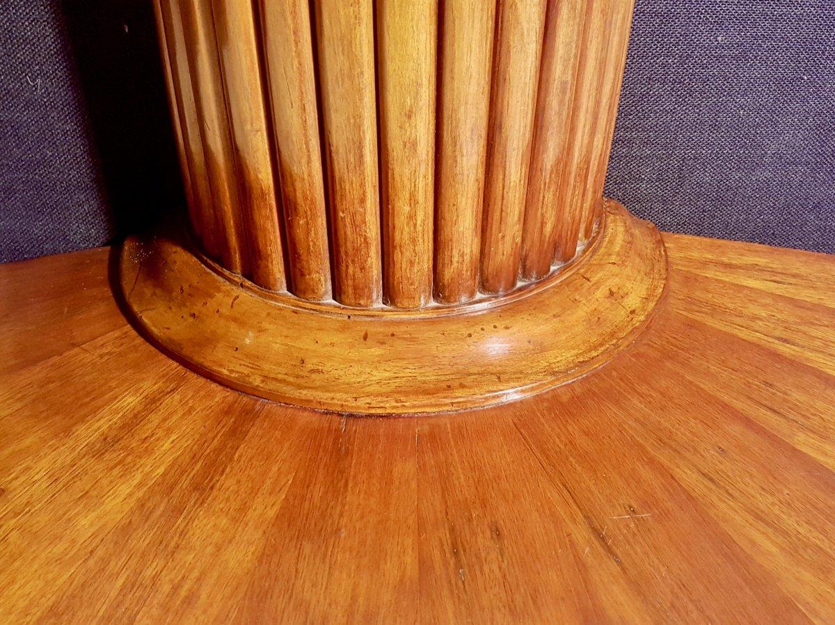 Paire De Consoles, Table,  En Noyer, Début XIXe (diamètre 156cm)-photo-6
