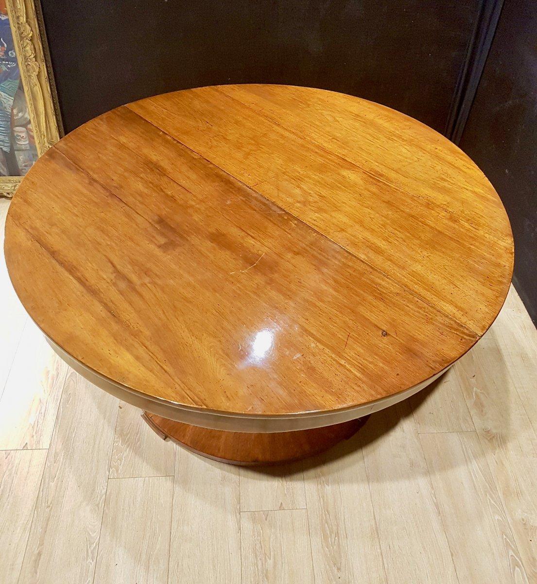 Paire De Consoles, Table,  En Noyer, Début XIXe (diamètre 156cm)-photo-7