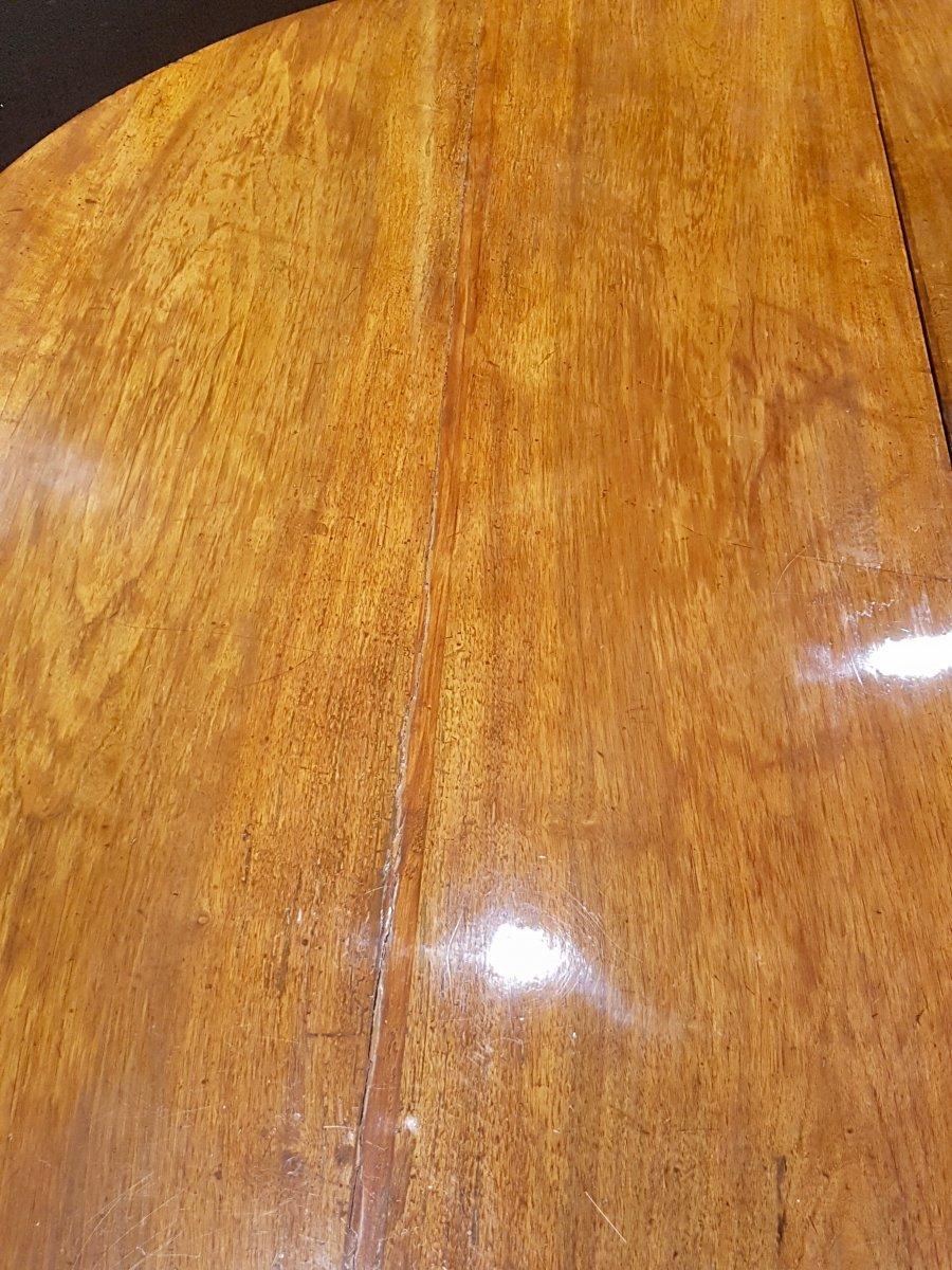 Paire De Consoles, Table,  En Noyer, Début XIXe (diamètre 156cm)-photo-8