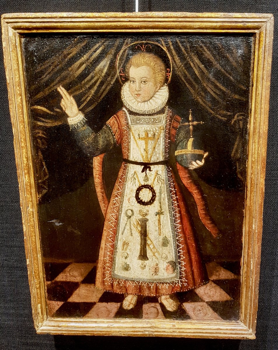 Rare Tableau Du Christ Enfant, Huile Sur Panneau XVIIe Siècle.-photo-2