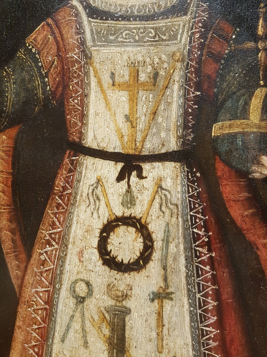 Rare Tableau Du Christ Enfant, Huile Sur Panneau XVIIe Siècle.-photo-4