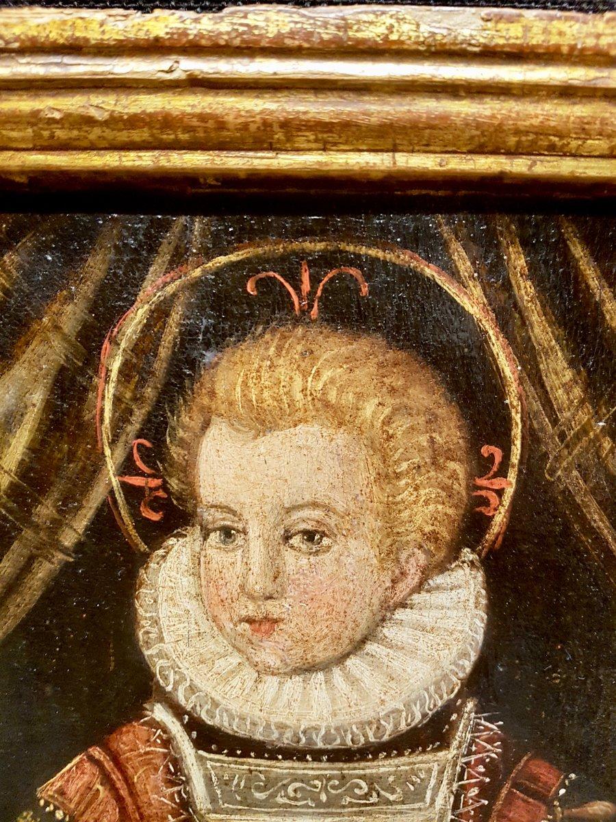Rare Tableau Du Christ Enfant, Huile Sur Panneau XVIIe Siècle.-photo-3