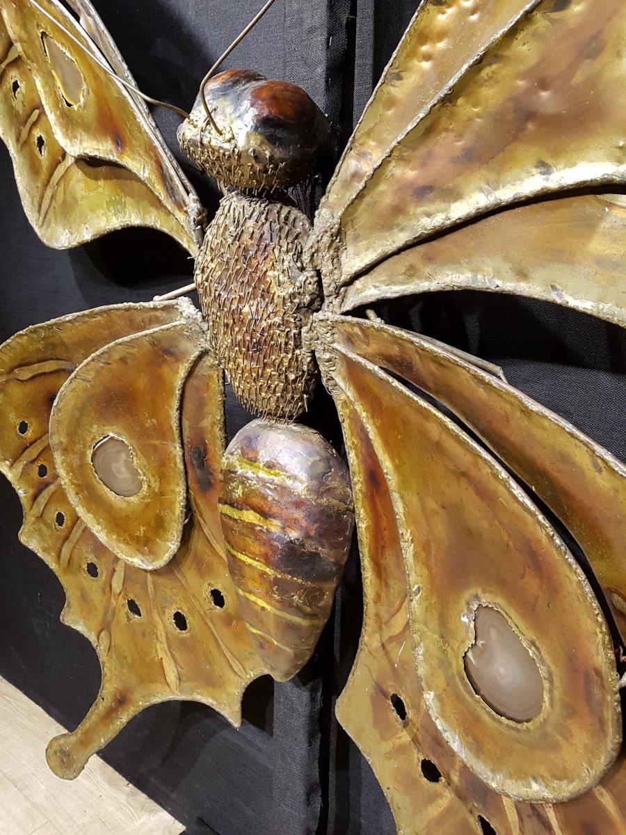 Papillon En Laiton Et Agathe, François Melin Vers 1975. (232cm X 173cm)-photo-4