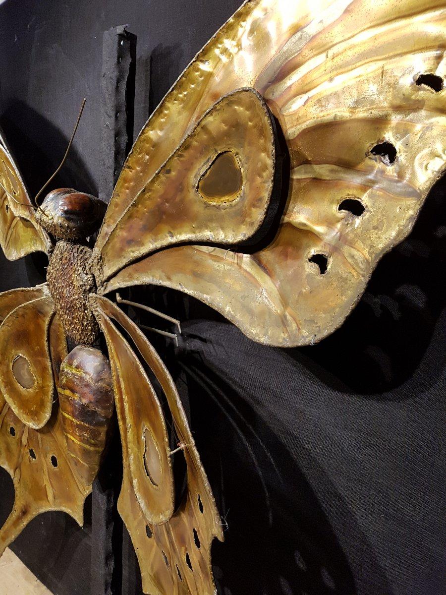 Papillon En Laiton Et Agathe, François Melin Vers 1975. (232cm X 173cm)-photo-5