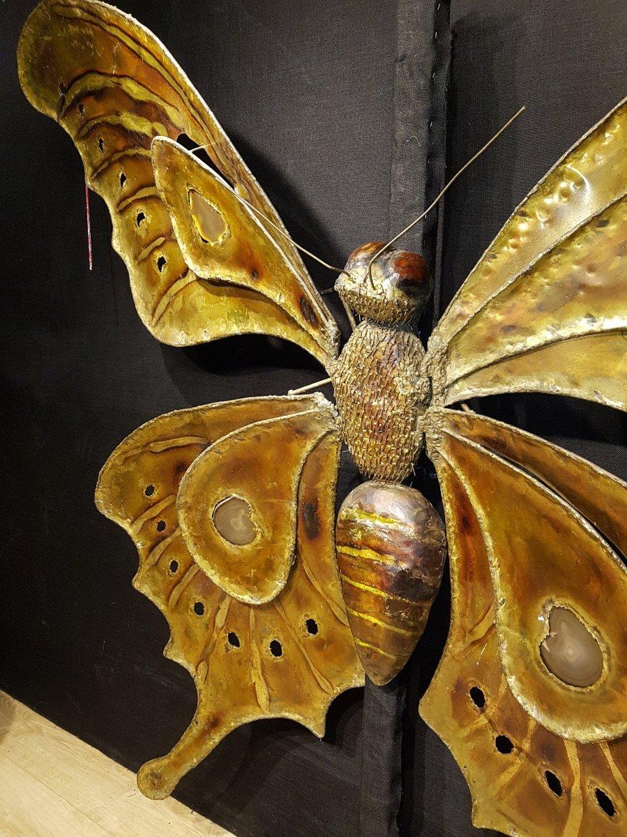 Papillon En Laiton Et Agathe, François Melin Vers 1975. (232cm X 173cm)-photo-6