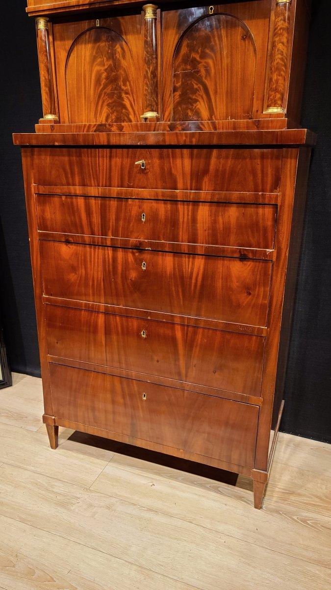 Cabinet Chiffonnier En Acajou, Époque Biedermeier Vers 1820. (188cm X 94cm).-photo-2