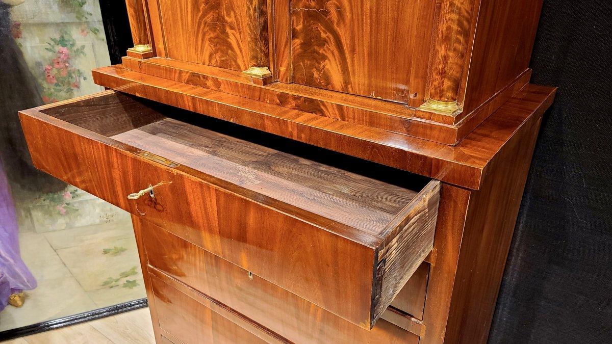Cabinet Chiffonnier En Acajou, Époque Biedermeier Vers 1820. (188cm X 94cm).-photo-4