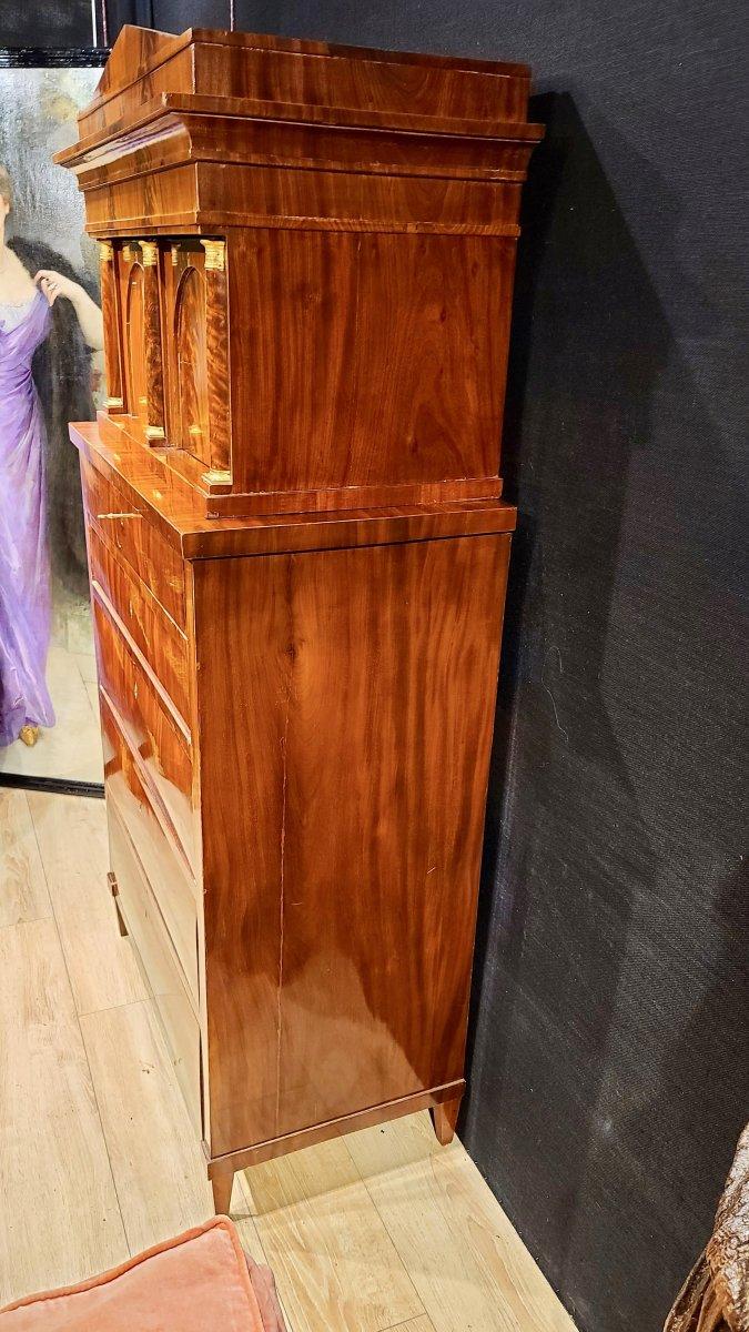 Cabinet Chiffonnier En Acajou, Époque Biedermeier Vers 1820. (188cm X 94cm).-photo-5