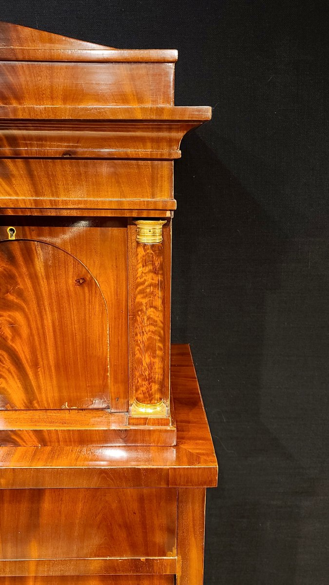 Cabinet Chiffonnier En Acajou, Époque Biedermeier Vers 1820. (188cm X 94cm).-photo-6