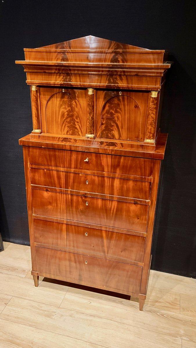 Cabinet Chiffonnier En Acajou, Époque Biedermeier Vers 1820. (188cm X 94cm).-photo-7
