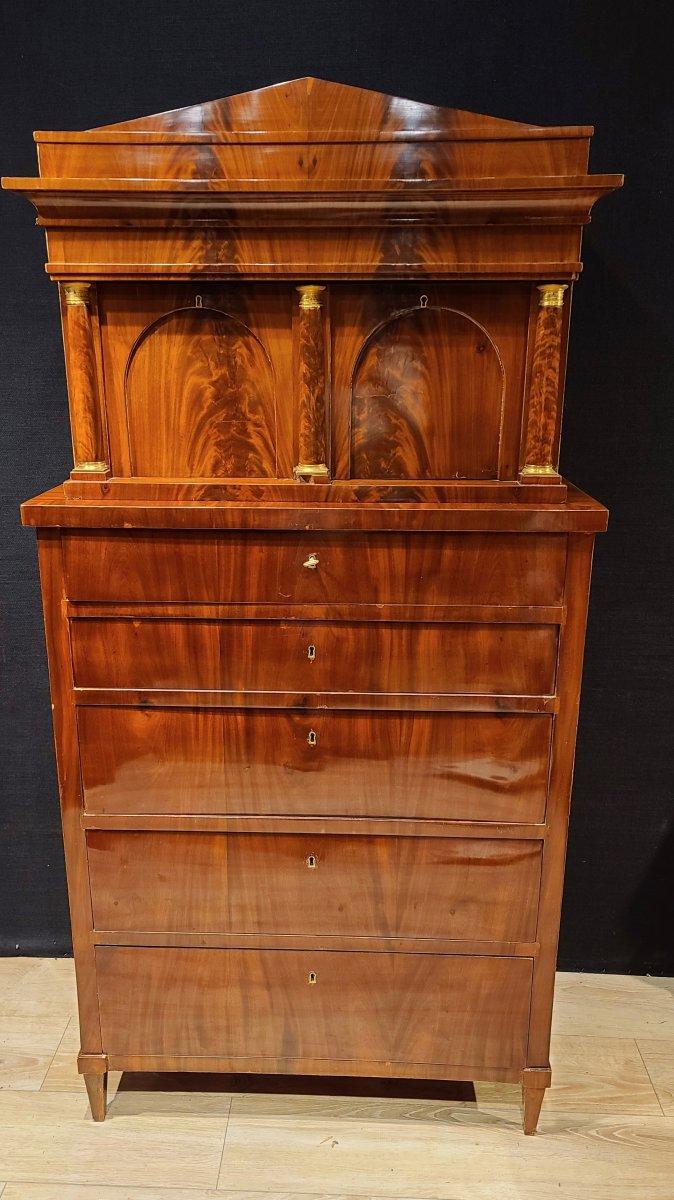Cabinet Chiffonnier En Acajou, Époque Biedermeier Vers 1820. (188cm X 94cm).-photo-8