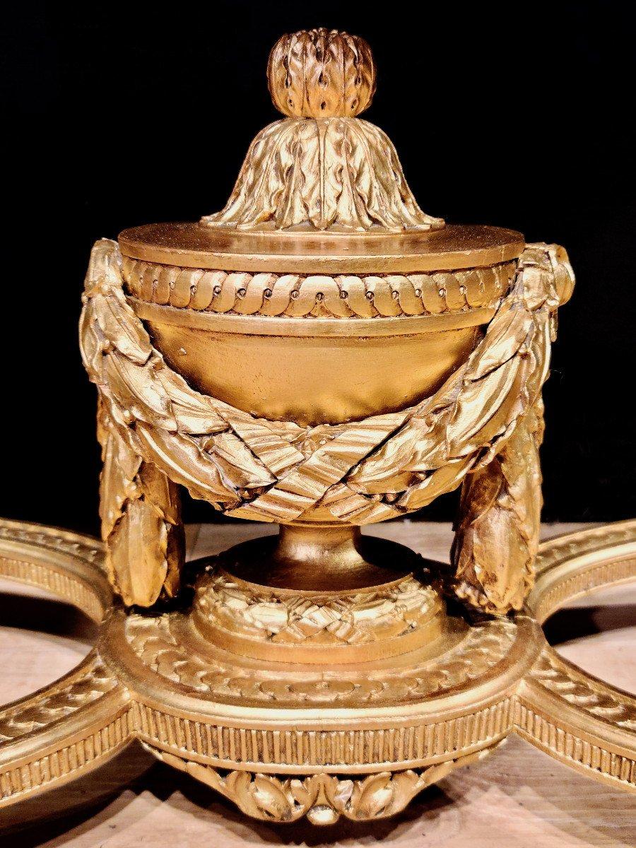 Importante Console En Bois Doré d'Époque Louis XVI, XVIIIe. (147cm x 70cm x 89cm).-photo-2