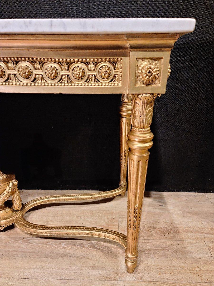 Importante Console En Bois Doré d'Époque Louis XVI, XVIIIe. (147cm x 70cm x 89cm).-photo-3