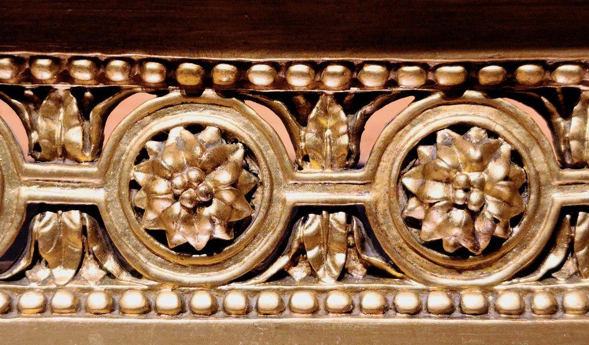 Importante Console En Bois Doré d'Époque Louis XVI, XVIIIe. (147cm x 70cm x 89cm).-photo-4