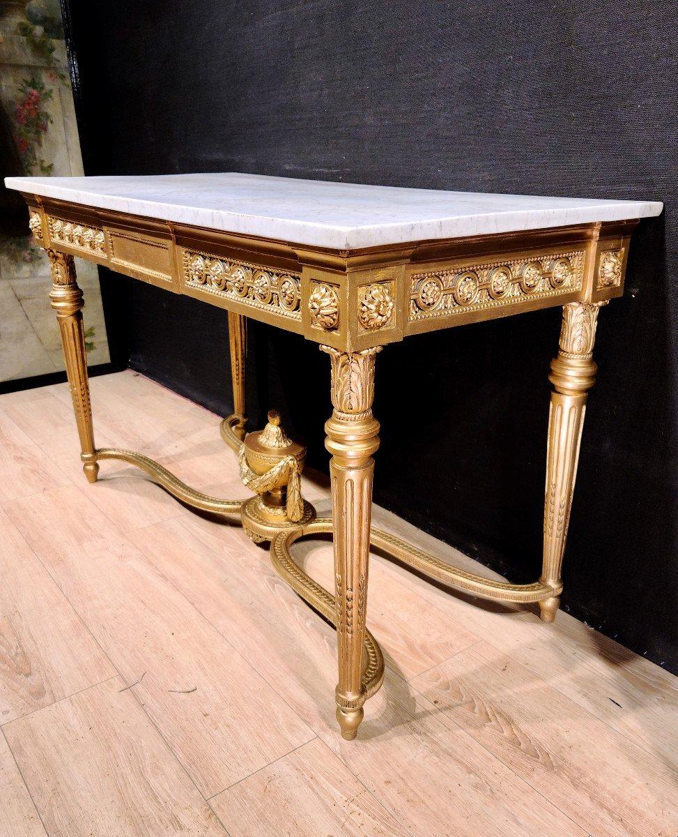 Importante Console En Bois Doré d'Époque Louis XVI, XVIIIe. (147cm x 70cm x 89cm).-photo-1