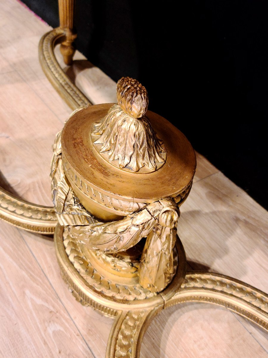 Importante Console En Bois Doré d'Époque Louis XVI, XVIIIe. (147cm x 70cm x 89cm).-photo-6