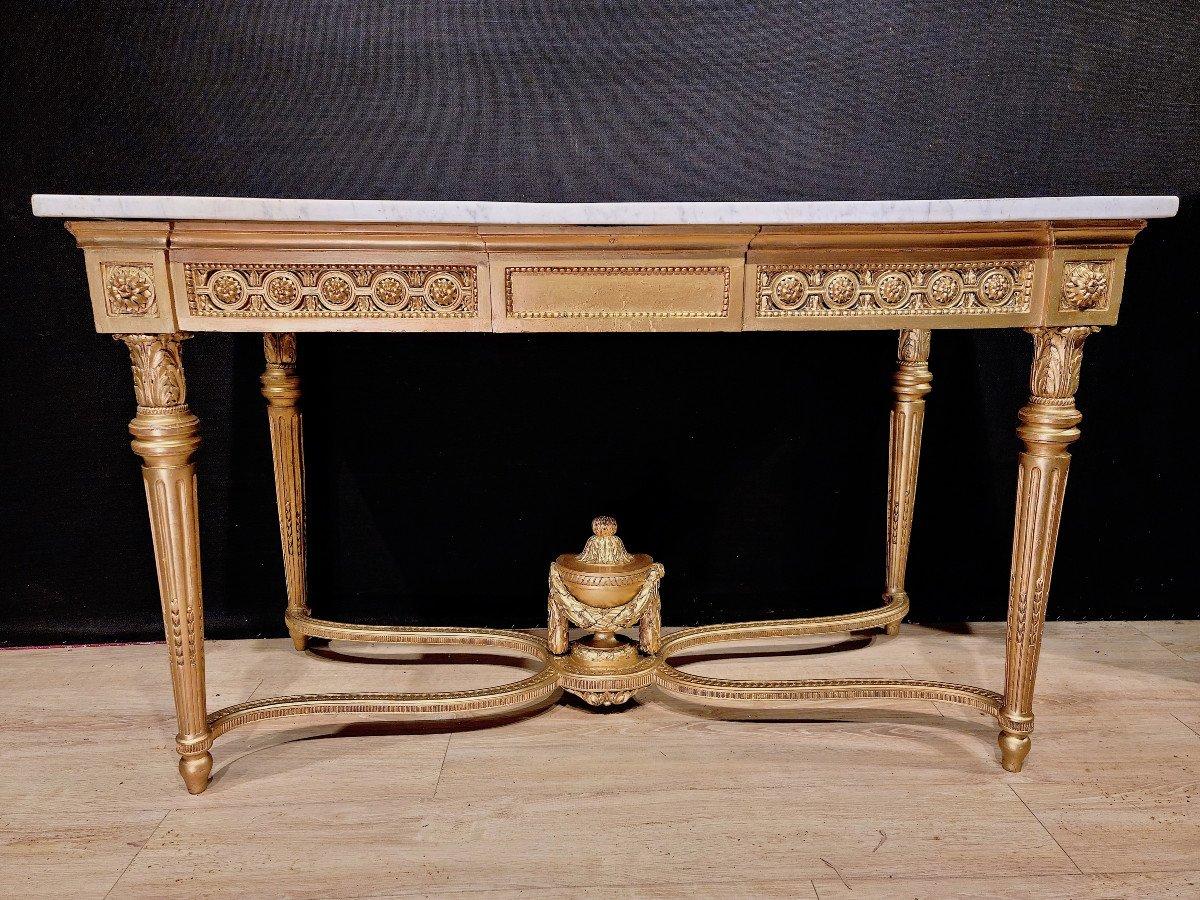 Importante Console En Bois Doré d'Époque Louis XVI, XVIIIe. (147cm x 70cm x 89cm).-photo-7