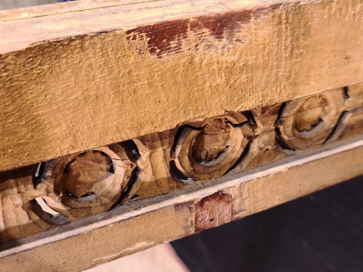 Importante Console En Bois Doré d'Époque Louis XVI, XVIIIe. (147cm x 70cm x 89cm).-photo-8