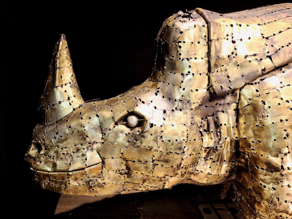 Rhinocéros, Immense Sculpture Éclairante En Laiton, François Melin, Vers 1970. (3m20 X 1m40)-photo-3