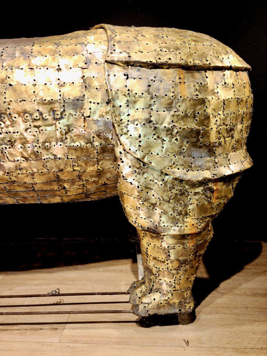 Rhinocéros, Immense Sculpture Éclairante En Laiton, François Melin, Vers 1970. (3m20 X 1m40)-photo-4