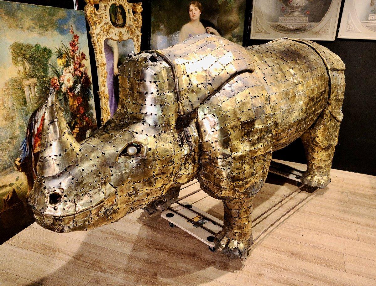 Rhinocéros, Immense Sculpture Éclairante En Laiton, François Melin, Vers 1970. (3m20 X 1m40)-photo-1