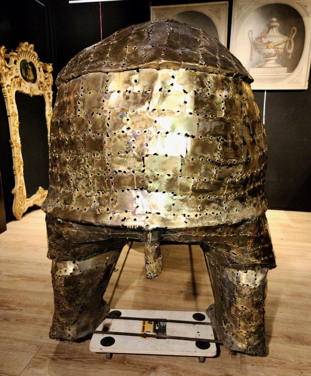 Rhinocéros, Immense Sculpture Éclairante En Laiton, François Melin, Vers 1970. (3m20 X 1m40)-photo-5