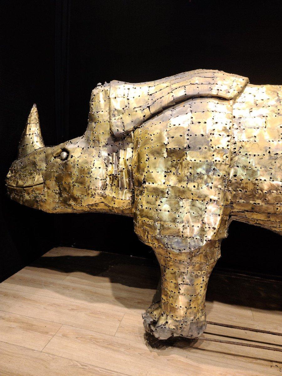 Rhinocéros, Immense Sculpture Éclairante En Laiton, François Melin, Vers 1970. (3m20 X 1m40)-photo-6
