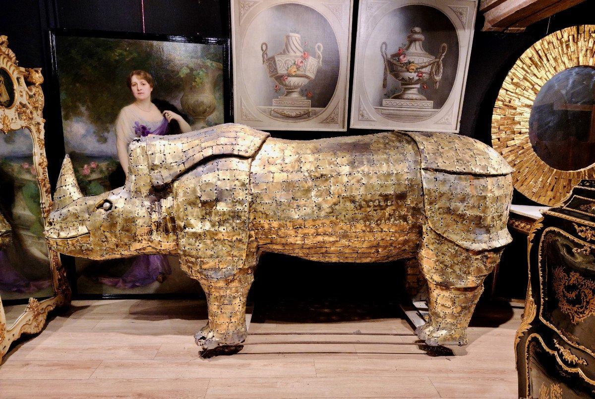 Rhinocéros, Immense Sculpture Éclairante En Laiton, François Melin, Vers 1970. (3m20 X 1m40)-photo-8