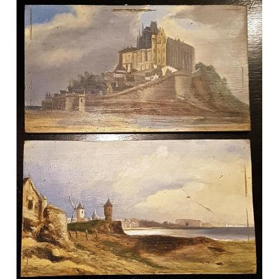 Pair Of Paintings, Mont St Michel, Signed G. Thomas 1875 (28, 5 Cm X 16.5 Cm)