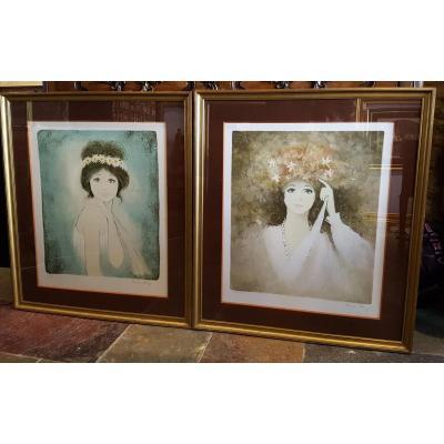 Paire De Lithographies Bernard Charoy, Portrait Femme.(71cmx80cm)