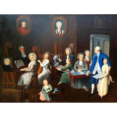 Tableau Scène Atelier d'Art, Musique, Mozart, XIXème Siècle (149cm X 114cm)