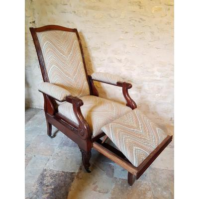 Solid Mahogany Armchair, Reclining, Restoration Period.