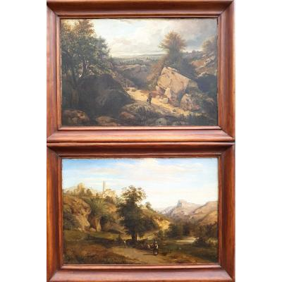 Pair Of Pictures Of Landscapes, XIXth Century (81cm X 60cm)