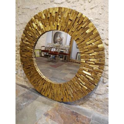Round Sun Shaped Mirror, Golden Wood, Circa 1980. (145cm Diameter).